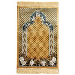 Tan Single Suede Authentic Turkish Prayer Mat with Mesh Archway and Tan Tassles
