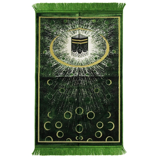 Green Kaaba Image Turkish Prayer Rug with Galaxy Design and Green Tassles
