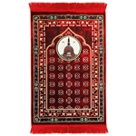 Red Medina Nabawi Image Turkish Prayer Rug with Flower Border and Red Tassles
