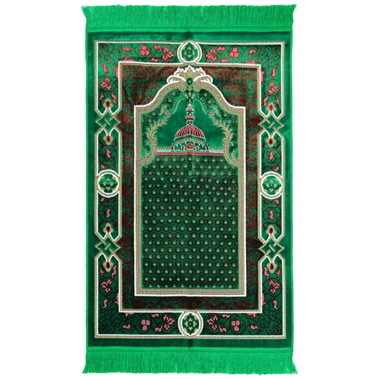 Lime Green Nabawi Image Prayer Rug From Turkey with Floral Border and Tassles