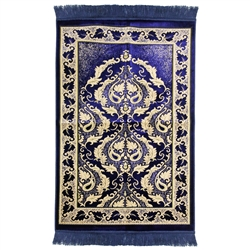 Blue Authentic Turkish Prayer Rug Floral Border With Blue Tassles