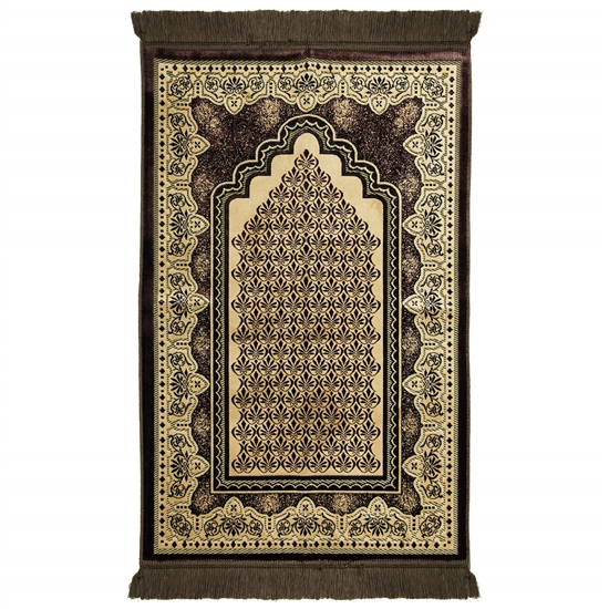Brown Single Prayer Rug with Tan Lotus Border with Archway and Brown Tassles