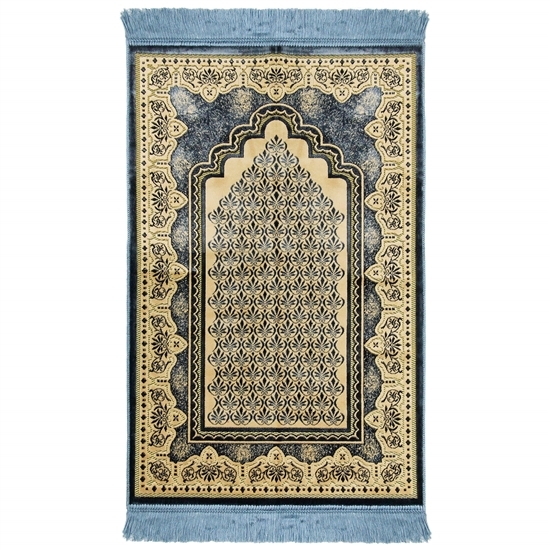 Sky Blue Single Prayer Rug with Tan Lotus Border with Archway and Blue Tassles
