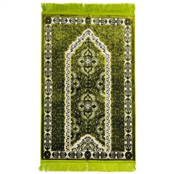 Lime Green Spotted Single Prayer Rug with White Archway Border and Green Tassles