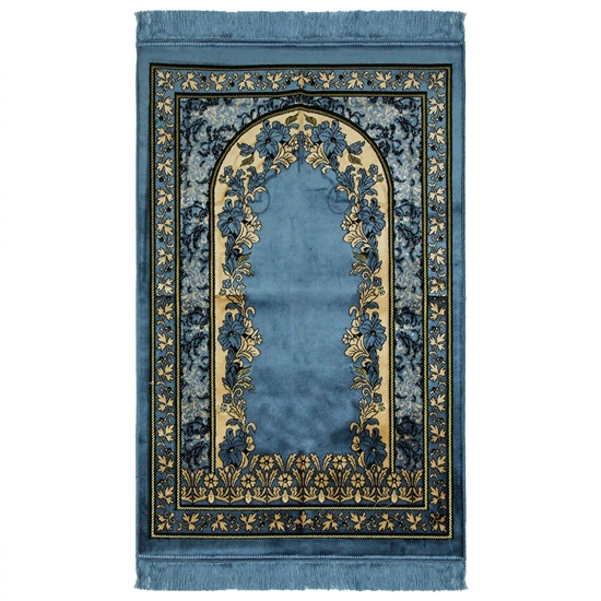 Light Blue Wide and Large Prayer Rug with Floral Archway Designs