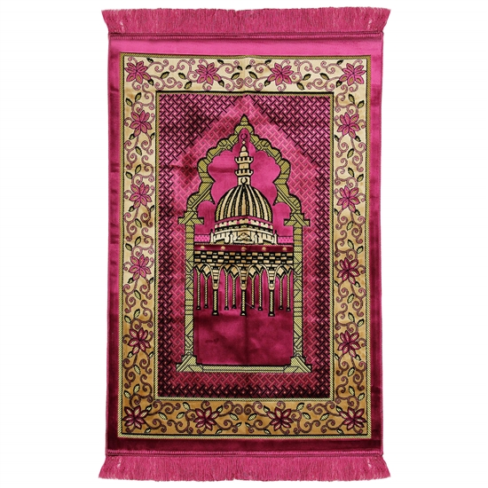 Pink Wide and Large Prayer Rug with Enlarged Nabawi Image and Pillar Design