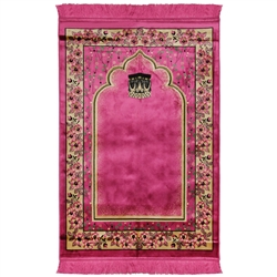Pink Wide and Large Turkish Prayer Rug with Kaaba Image and Tan Flower Border