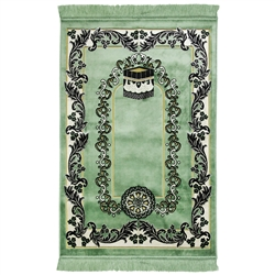 Mint Green Wide and Large Turkish Prayer Rug with Kaaba Image and White Border