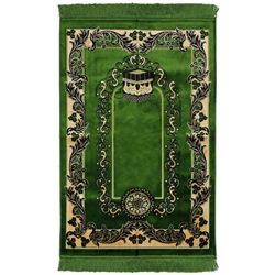 Forest Green Wide and Large Prayer Rug with Kaaba Image and Tan Border