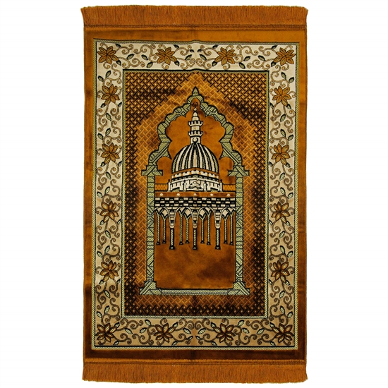 Brown Wide and Large Prayer Rug with Enlarged Nabawi Image and Pillar Design