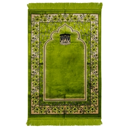 Lime Green Wide & Large Turkish Prayer Rug with Kaaba Image and Tan Border
