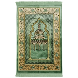 Mint Green and Tan Wide and Large Prayer Rug with Enlarged Nabawi Image and Pillar Design