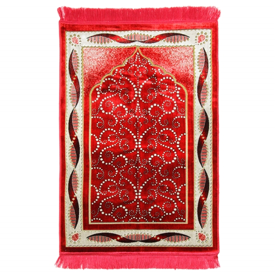 Red Turkish Design Archway Prayer Rug with Double Helix Borders and Red Tassles