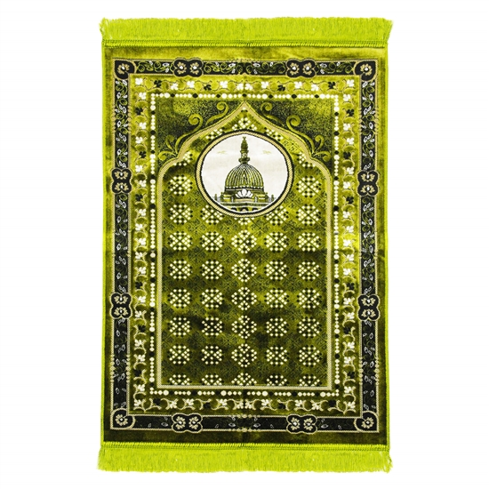 Lime Green Masjid An-Nabawi Turkish Prayer Rug with Archway Design