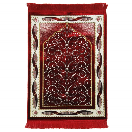 Dark Red Turkish Design Archway Prayer Rug with Double Helix Borders