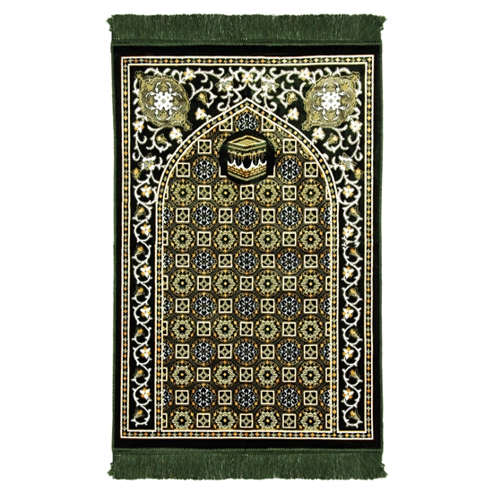 Forest Green Traditional Kabba Image Suede Prayer Rug with Turkish Design