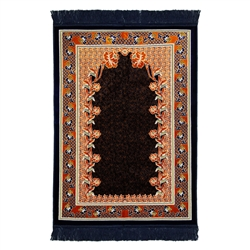 Navy Blue Suede Intircate Turkish Deisgn Floral Archway Prayer Mat with Tassles