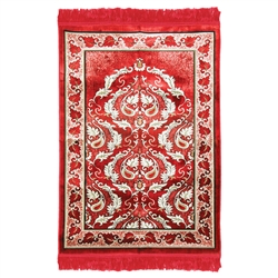Red Single Authentic Turkish Prayer Rug Floral Leaf Border with Red Tassles
