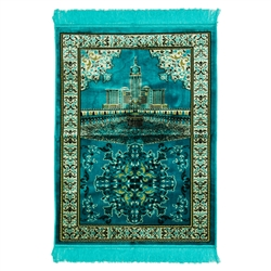 Turqouise Mecca Landscape Image with White Border Design Turkish Prayer Rug