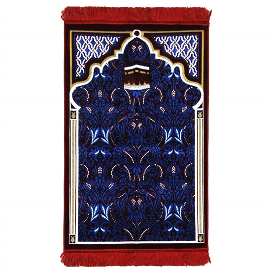 Red White and Blue Ornate Turkish Archway Deisgn Prayer Rug with Red Tassels