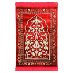 Red Large Floral Design Turkish Prayer Rug with Orange Border and Red Tassels