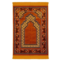 Orange and Brown Floral Authentic Turkish Prayer Mat with Mustard Tassles