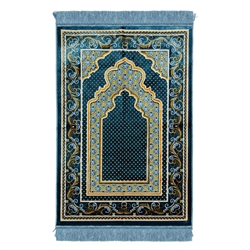 Light Blue and Tan Floral Authentic Turkish Prayer Mat with Light Blue Tassels