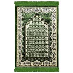 Green and White Suede Authentic Turkish Prayer Rug with Mesh Archway
