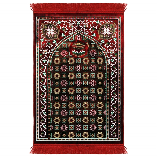 Red Single Prayer Rug with Tan Lotus Border with Archway and Red Tassles