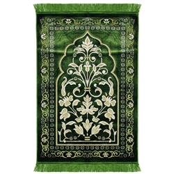 Green Large Floral Design Turkish Prayer Rug with Tan Border