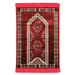 Dark Red Spotted Single Prayer Rug with White Archway Border and Red Tassles