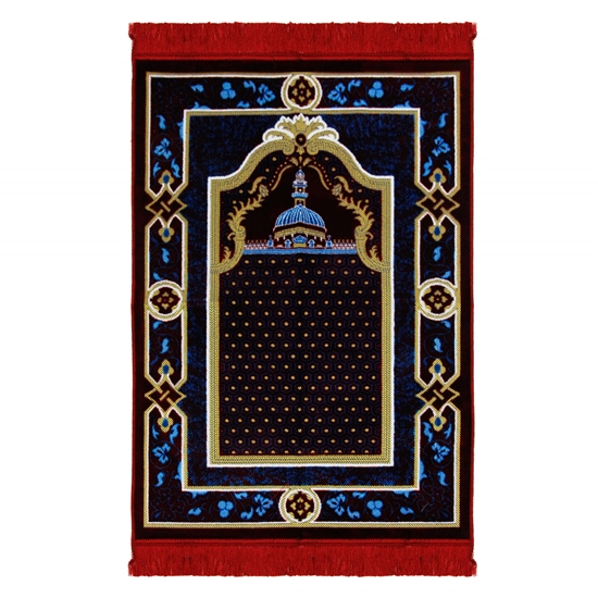 Red and Blue Suede Janamaz Medina Nabawi Image Prayer Rug with Tan Floral Border