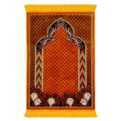 Orange and Black Suede Authentic Turkish Prayer Rug with Mesh Archway