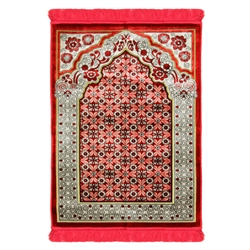 Red Single Prayer Rug with Italian Style Design Archway and Red Tassles