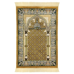 Brown Tan Suede Prayer Rug with Pillar and Nabawi Image and Tan Tassle
