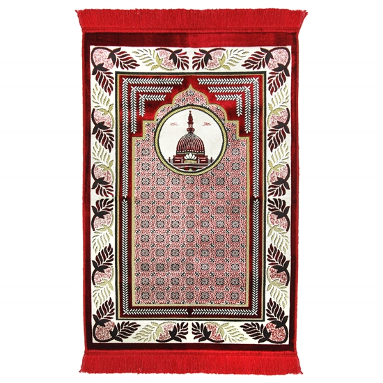Dark Red Medina Nabawi Turkish Prayer Rug with Tile Archway Design