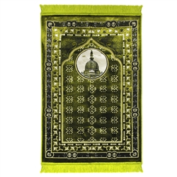 Lime Green Medina Nabawi Image Turkish Prayer Rug with Flower Border & Tassles