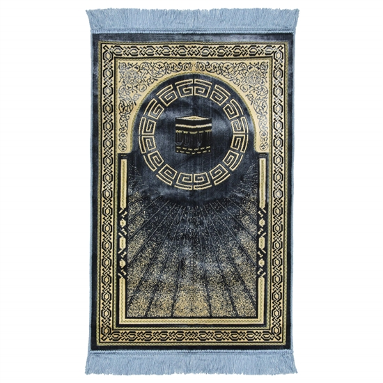 Blue and Tan Border Greek Key and Kaaba Deisgn Authentic Turkish Prayer Rug