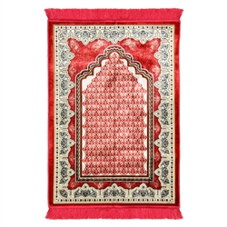 Cherry Red Single Prayer Rug with Tan Lotus Border & Archway with Red Tassles