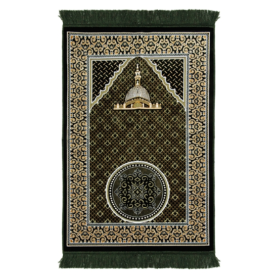 Turkish Design Green Suede Prayer Rug with Nabawi Image and Orante Tan Border