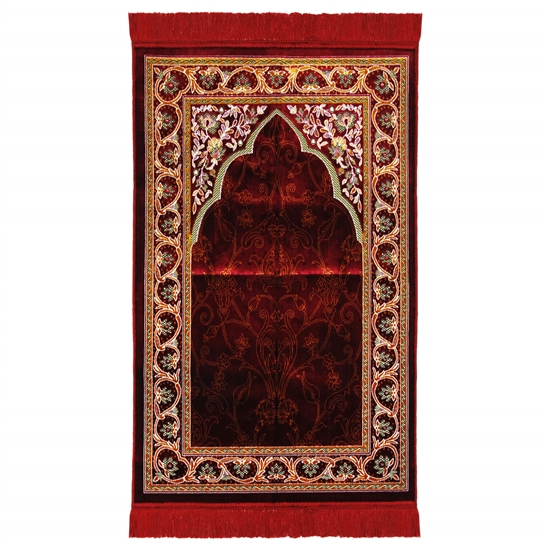 Red Suede Single Nemazlik Authentic Turkish Prayer Rug with Orange Border