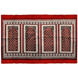 Four Person Red and White Floral Family Prayer Rug