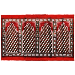 Four Person Red White and Family Sized Prayer Rug