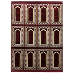 Twelve Person Red and Gold Simple Archway Three Layer Family Prayer Rug