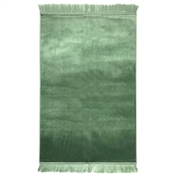 Muslim Prayer Rug 3.6' x 2.3' Plain Green Tassels