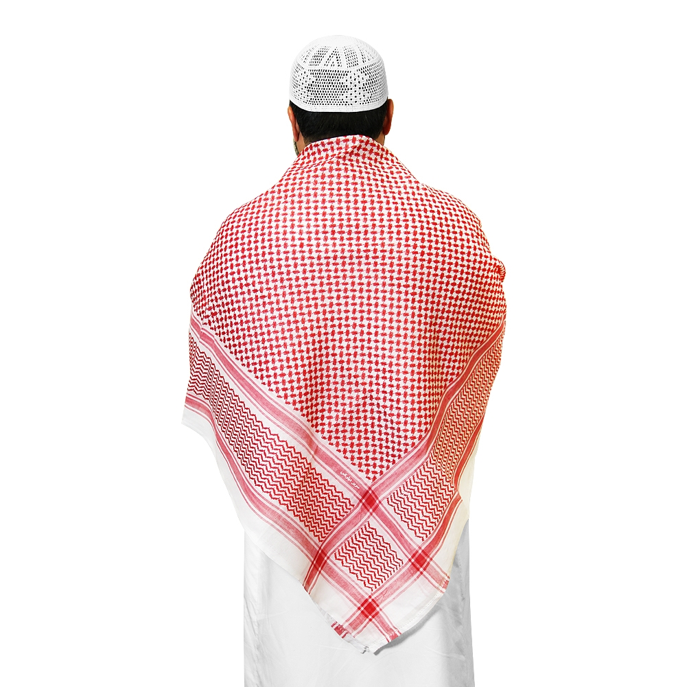 Muslim Prayer Square Scarf Red And White Shemagh Keffiyeh