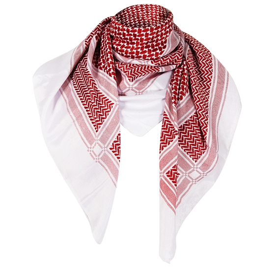 White and Red Traditional Shemagh Scarf