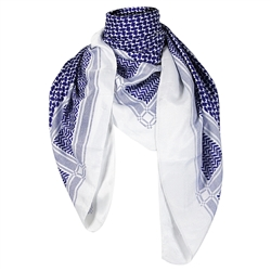 White and Blue Traditional Shemagh Scarf