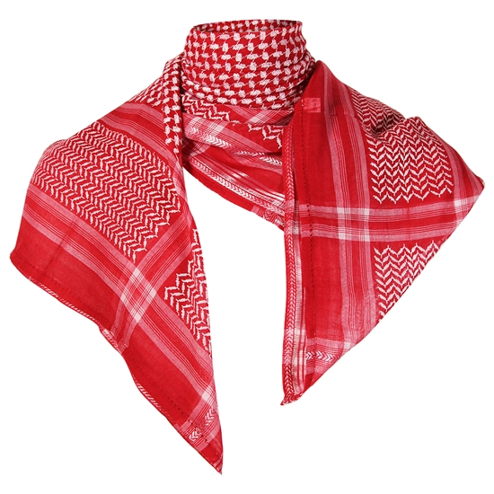 Cherry Red Premium Shemagh Scarf with Silver Trim