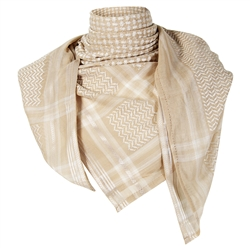 Sand Beige Premium Shemagh Scarf with Silver Trim